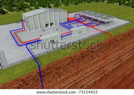 Geothermal system with cutting through the earth and deep hole, about 3 - 6 km deep - stock photo