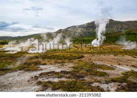 Geothermally active valley of Haukadalur - stock photo
