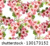Geranium Seamless Pattern - stock vector