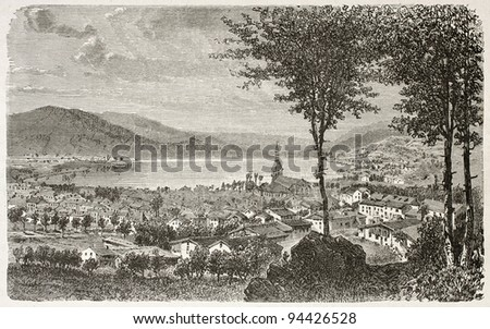 Gerardmer and its lake old view, France. Created by Clerget, published on Le Tour du Monde, Paris, 1867 - stock photo