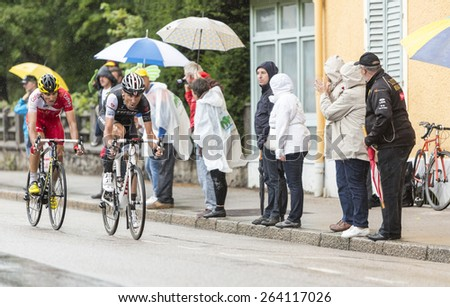 GERARDMER,FRANCE - JUL 12: Two Spanish cyclists,Haimar Zubeldia (Trek Factory Racing ) ,Luis Angel Mate Mardones (Cofidis) ride during the stage 8 of Le Tour de France on July 12, 2014 in Gerardmer