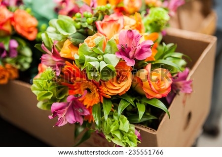 gerbera, tulips and mix of summer flowers bouquet for the wedding in the Florida - stock photo