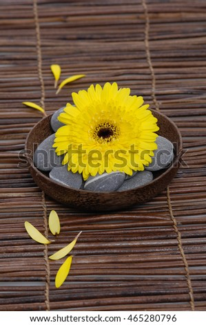 gerbera,with stones in bow gray stones on mat
