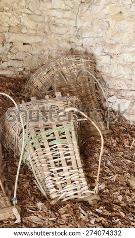 Gerla - It is a typical basket, in wood, wicker or viburnum. It was used in ancient times by the Inhabitants of the Alpine valleys. - stock photo
