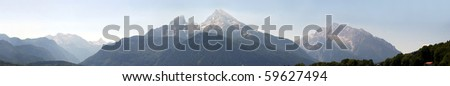 German Alps panorama with Mounts Watzmann and Hochkalter and the Steinernes Meer mountains - stock photo