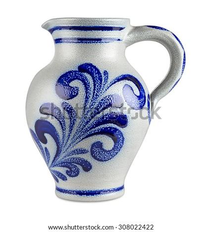 German apple wine stone jug isolated on white background - stock photo