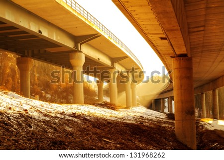 German Autobahn in the Morning - stock photo