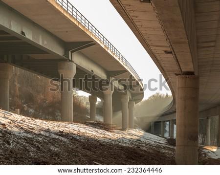 German Autobahn in the Morning. Sunrays in Winter - stock photo