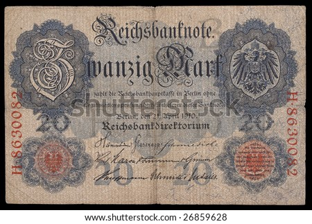 German bank note period of Keiser Germany. 20 mark. 1910. Obverse. Path on the black background