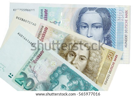German banknotes. Deutche Mark (DM) D-mark in denominations 20, 50 and 100. Pre-euro currency money which now are cancelled and invalid.