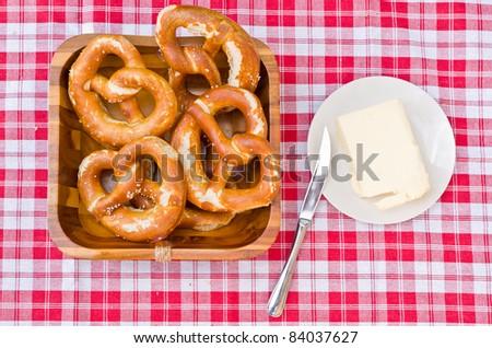 german bavarian breakfast with brezel - stock photo
