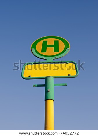 German bus stop sign, name removed - stock photo