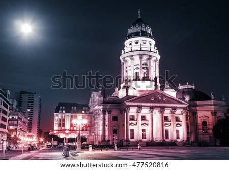 German cathedral, Gendarmenmarkt at night, Berlin
