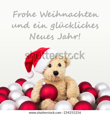 german Christmas card with teddy bear  and text merry christmas  and a happy New Year/Merry Christmas and a happy New Year/german