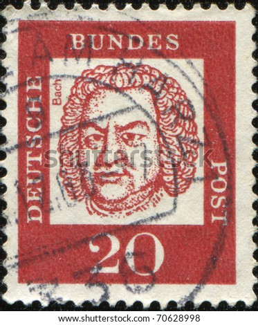 GERMAN-CIRCA 1961: A POST STAMP PRINTED IN Germany shows portrait of Johann Sebastian Bach, Series of Berlin stamps of distinguished German, circa 1961