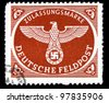 GERMAN - CIRCA 1942: A stamp printed Germany, shows Nazi Emblem, series, circa 1942 - stock photo
