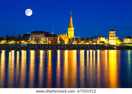 German city Dusseldorf at the blue hour - stock photo