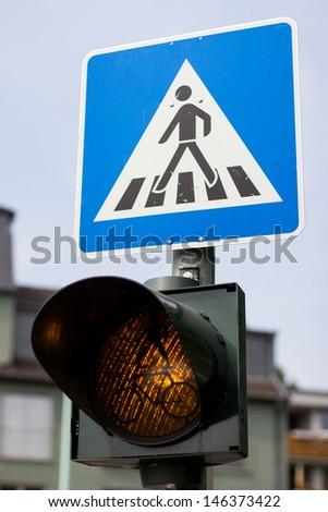 german crosswalk sign - stock photo
