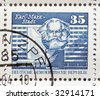 German Democratic Republic (DDR) stamps with Karl Marx - stock photo
