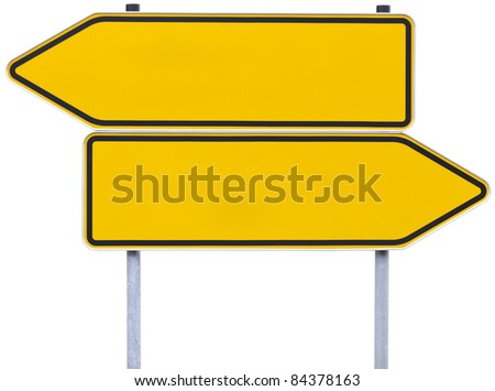 german direction signs with clipping path isolated on white. One arrow pointing to the left, one to the right. - stock photo