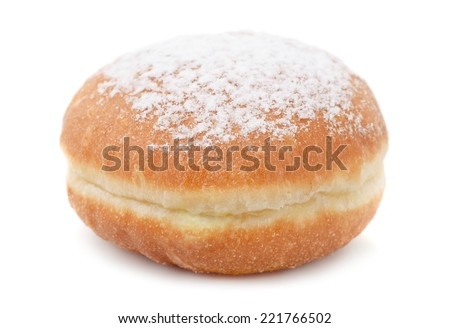 German doughnut berliner with icing sugar isolated on white  - stock photo