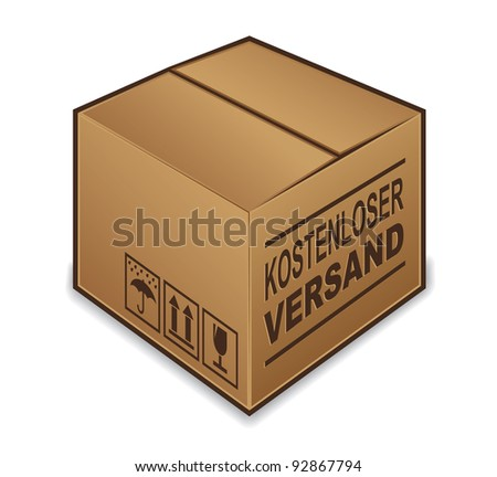 "German ""free shipping"" box icon isolated on white background - stock photo"