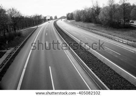 German freeway - black and white - stock photo