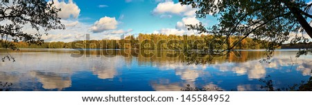 german Lake Liepnitzsee in Autumn, Landscape Panorama Shot - stock photo