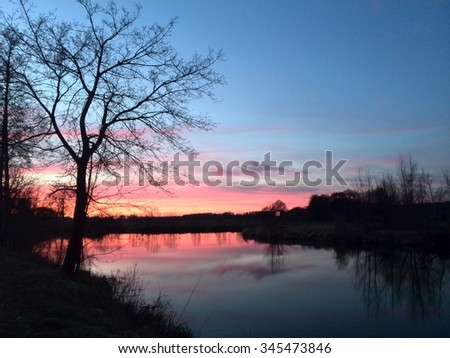 german Lakeside in the Sunset - stock photo