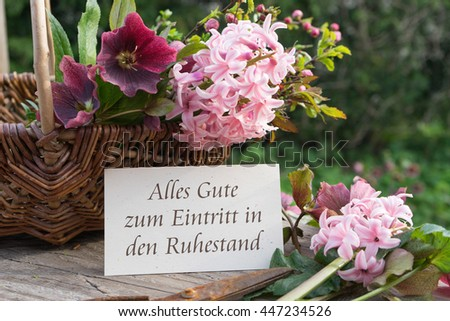 German-language greeting card retirement with hyacinths and hellebores / Happy retirement / retirement