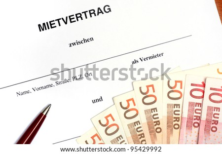 German lease agreement ( Mietvertrag)  in a studio shot