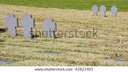 German military cemetery in Maleme, Crete, Greece. The cemetery is for the German soldiers who died during 2nd wold war . - stock photo