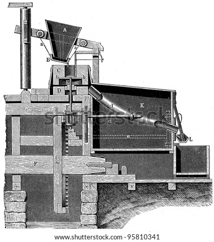 German mill for grinding grain with millstones - an illustration of the encyclopedia publishers Education, St. Peterburg, Russian Empire, 1896 - stock photo