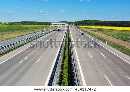 German motorway on a sunny day with little traffic