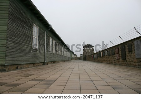 german nazi concentration camp, world war II, mauthausen - stock photo