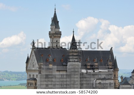 German Neuschwanstein Castle in Bavaria under construction - stock photo