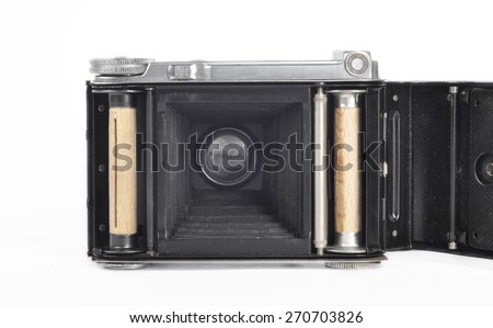 German old camera. The beggining of the 20th century. Open - stock photo