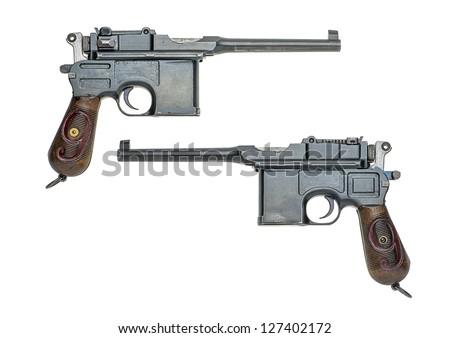 german pistol model 1896/1912 (Mauser) - stock photo