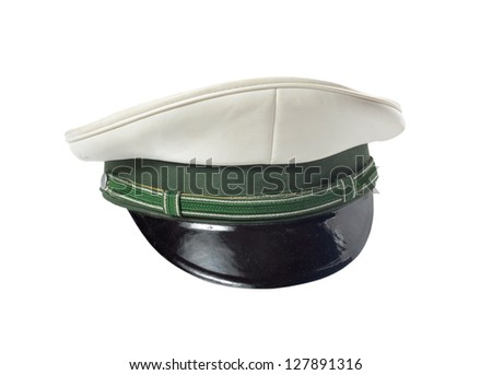 German police cap, on a white background - stock photo