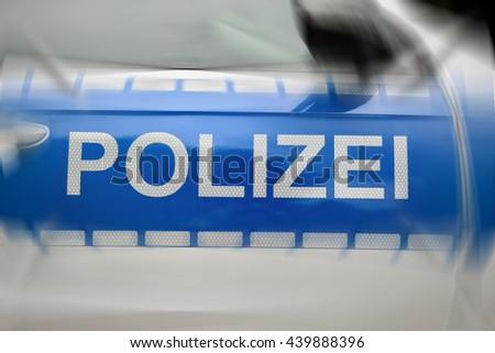 German police car lettering - stock photo