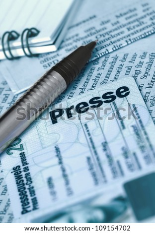 German press card - stock photo