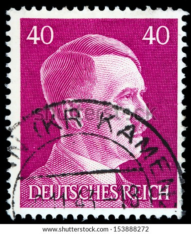 GERMAN REICH - CIRCA 1941: A stamp printed in Germany shows image of Adolf Hitler, series, 1941  - stock photo