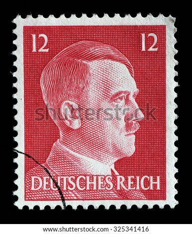 GERMAN REICH - CIRCA 1942: A stamp printed in Germany shows image of Adolf Hitler, series, 1942 - stock photo