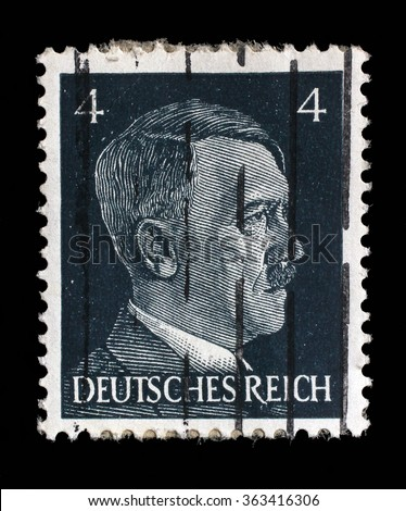 GERMAN REICH - CIRCA 1941: A stamp printed in Germany shows image of Adolf Hitler, series, 1941. - stock photo