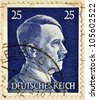 GERMAN REICH - CIRCA 1942: A stamp printed in Germany shows the image of Adolf Hitler, series 1942 - stock photo