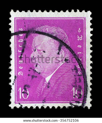 GERMAN REICH - CIRCA 1928: A stamp printed in the German Reich shows Friedrich Ebert (1871-1925), 1st President of the German Reich, circa 1928. - stock photo
