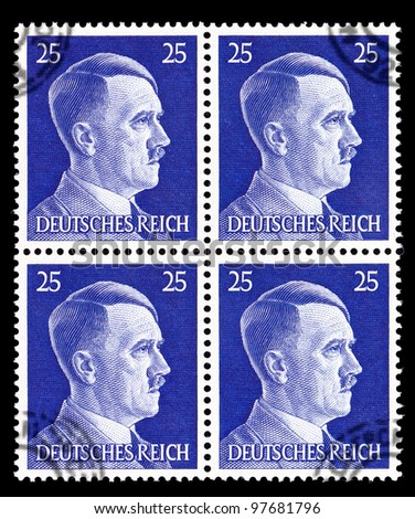 GERMAN REICH - CIRCA 1944: Stamps printed in Germany shows image of Adolf Hitler, circa, 1944 - stock photo
