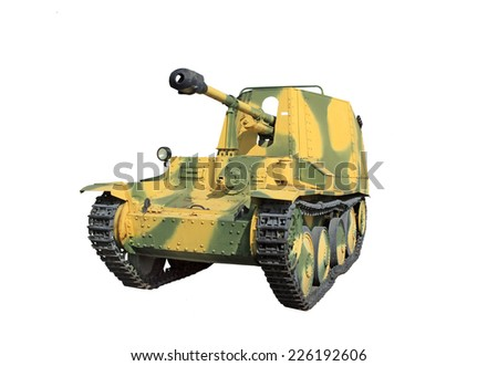 German self-propelled artillery gun Marder III isolated on white background - stock photo