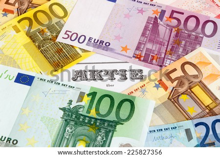 German Share outlined with Euro banknotes - stock photo
