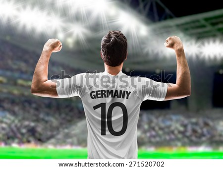 German soccer player in the stadium - stock photo